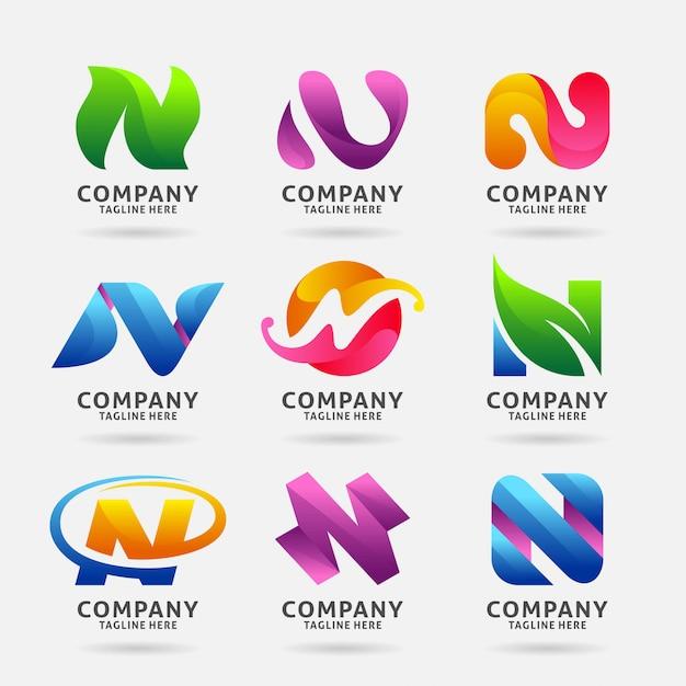 Verzameling van letter n modern logo-ontwerp Premium Vector
