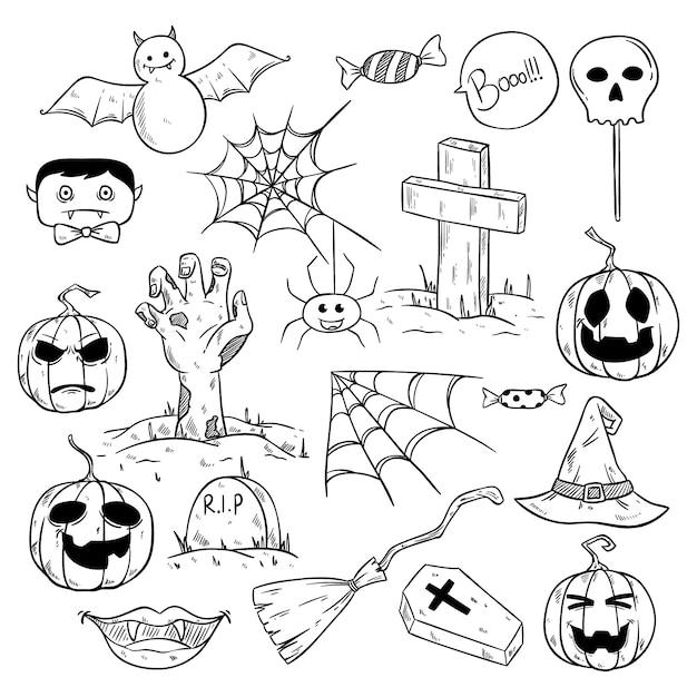 Verzameling van leuke halloween-elementen of pictogrammen met schetsmatige stijl Premium Vector