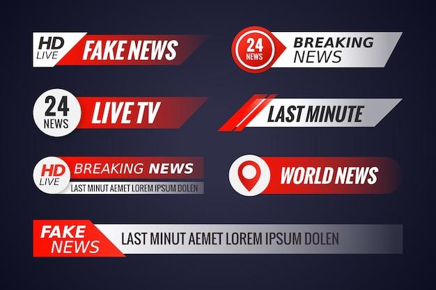 Verzameling van live streams nieuwsbanners Gratis Vector