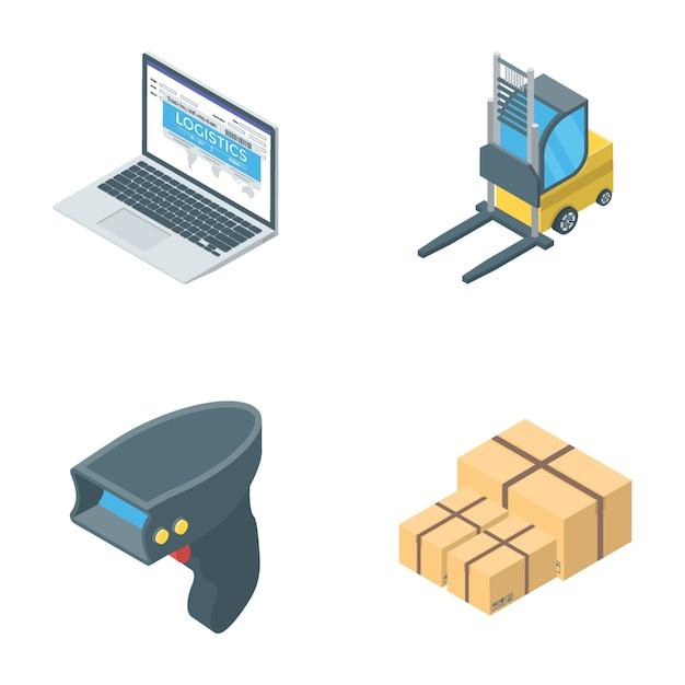 Verzameling van logistiek pictogrammen Premium Vector