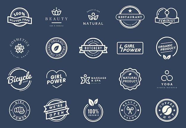 Verzameling van logo en badge vectoren Gratis Vector
