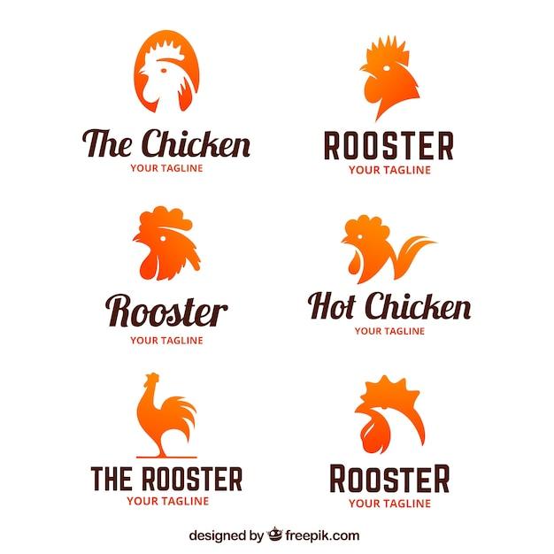 Verzameling van logo's van haanjes Gratis Vector