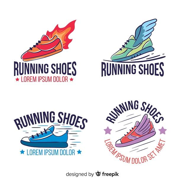 Verzameling van logo's voor hardloopschoenen Gratis Vector