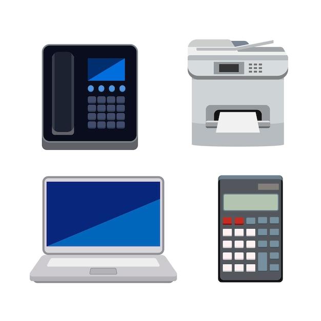 Verzameling van machines die worden gebruikt in geïsoleerde kantoren Gratis Vector