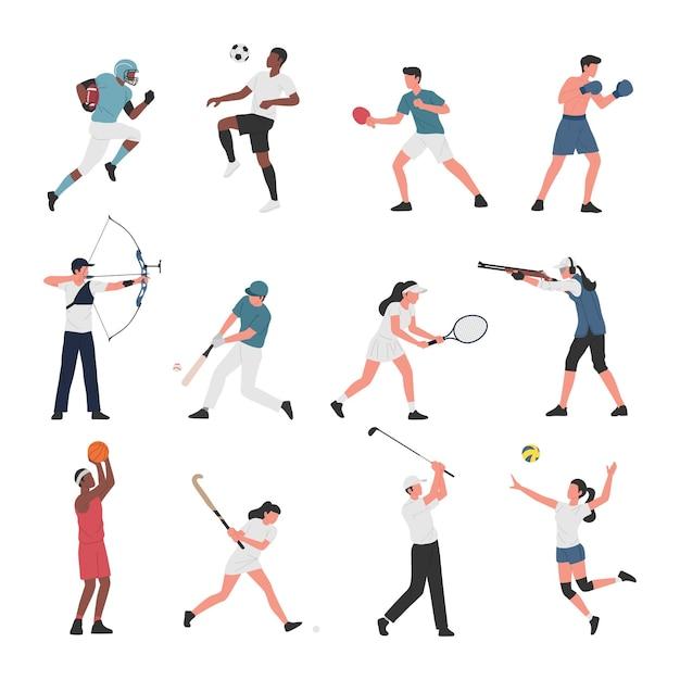 Verzameling van mannen en vrouwen die verschillende sportactiviteiten doen. Premium Vector