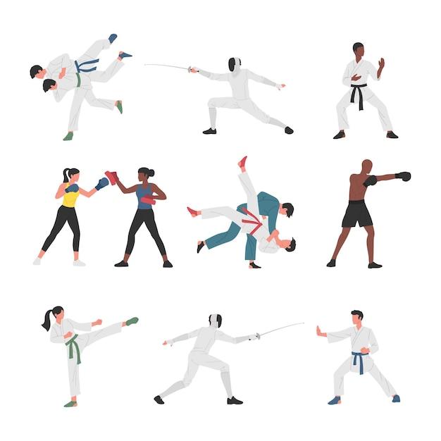 Verzameling van mannen en vrouwen die verschillende vechtsporten beoefenen. Premium Vector