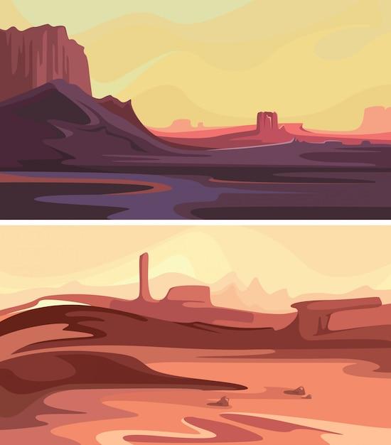 Verzameling van martiaanse landschappen. mooie ruimtescènes. Premium Vector
