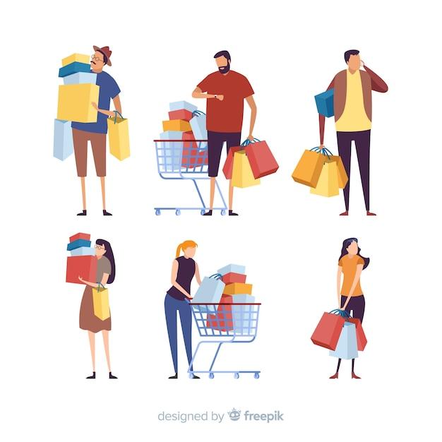 Verzameling van mensen die boodschappentassen dragen Gratis Vector