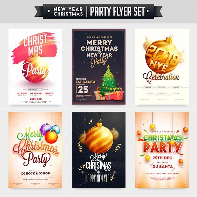Verzameling van merry christmas en new year party viering poster, banner of flyer design. Premium Vector