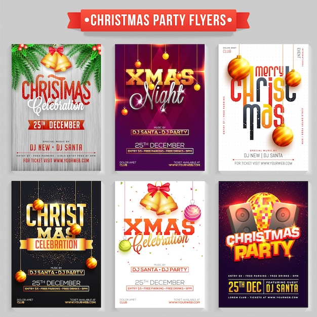 Verzameling van merry christmas party flyers of banners. Premium Vector