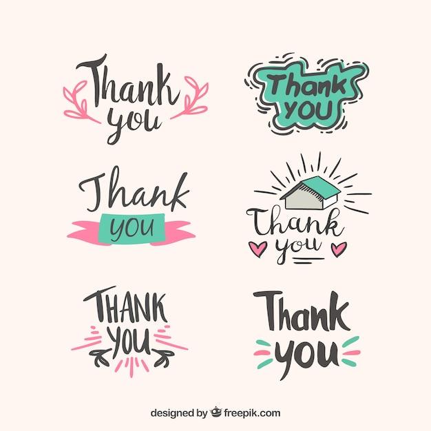 Verzameling van met de hand getekende dank stickers Gratis Vector