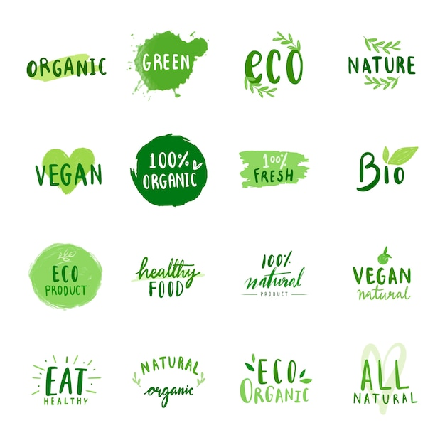 Verzameling van milieuvriendelijke typografie vectoren Gratis Vector