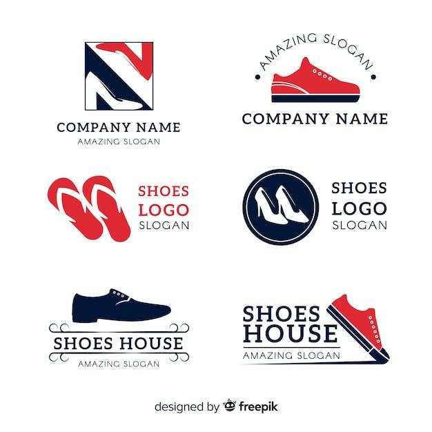 Verzameling van mode schoen logo's Gratis Vector