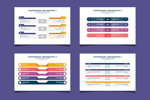 Verzameling van moderne vergelijkingstabel Premium Vector