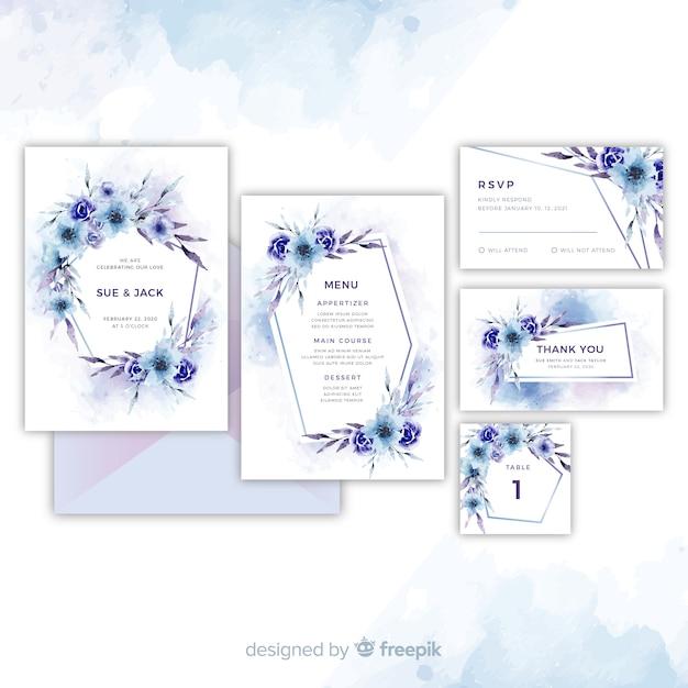 Verzameling van mooie bloemenhuwelijksuitnodigingen Gratis Vector