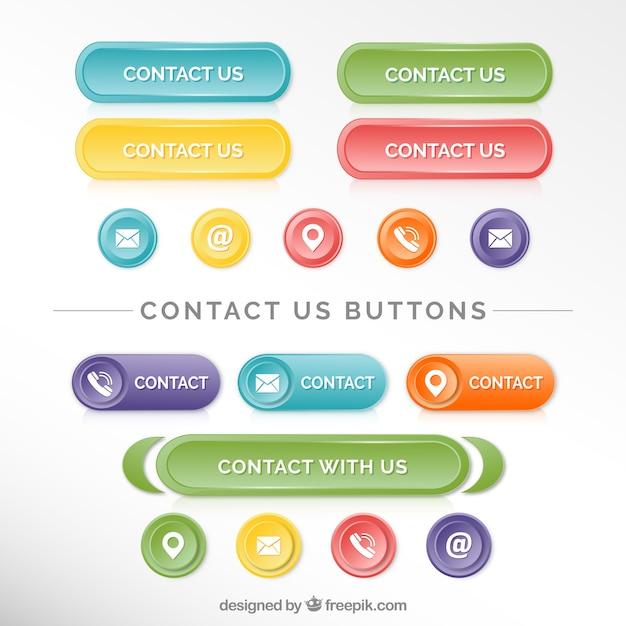 Verzameling van mooie contact knoppen Gratis Vector