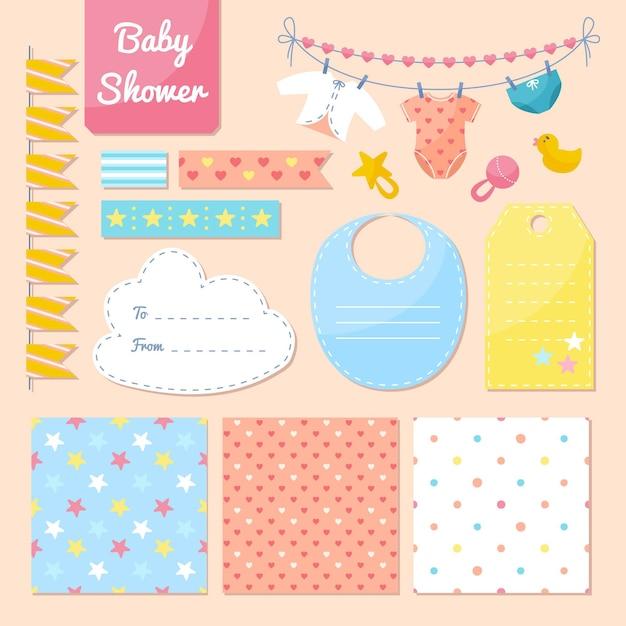 Verzameling van mooie plakboekelementen voor babydouche Premium Vector