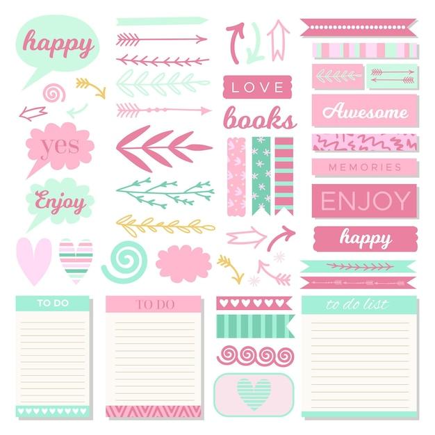 Verzameling van mooie planner plakboekelementen Premium Vector