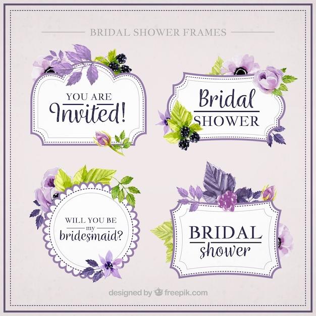 Verzameling van mooie vrijgezellenfeest frames met paarse bloemen Gratis Vector
