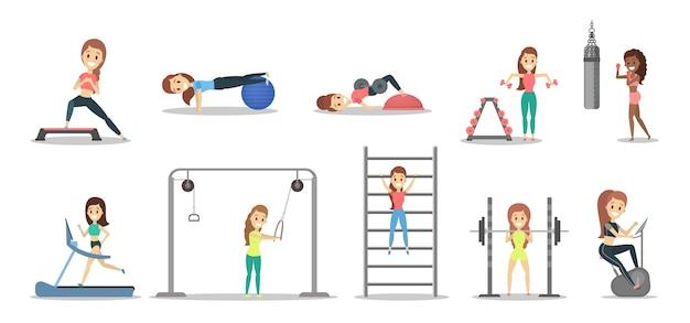 Verzameling van mooie vrouwen doen oefeningen in de sportschool. fitness en een gezonde levensstijl. gewichtheffen, boksen en aroeben. illustratie Premium Vector