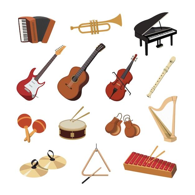 Verzameling van muziekinstrumenten Premium Vector