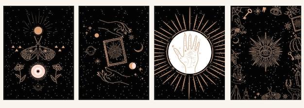 Verzameling van mystieke en mysterieuze in handgetekende stijl. schedels, dieren, ruimtevoorwerpen, magische bal, kristallen, handen Premium Vector