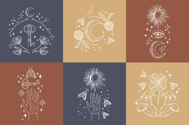 Verzameling van mystieke en mysterieuze logo-objecten. minimalistische magische lijntekeningen in trendstijl. Premium Vector
