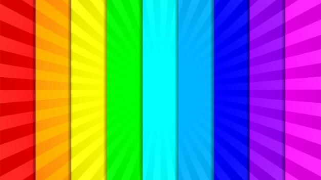 Verzameling van negen heldere, levendige, kleurrijke stralen achtergrond Premium Vector
