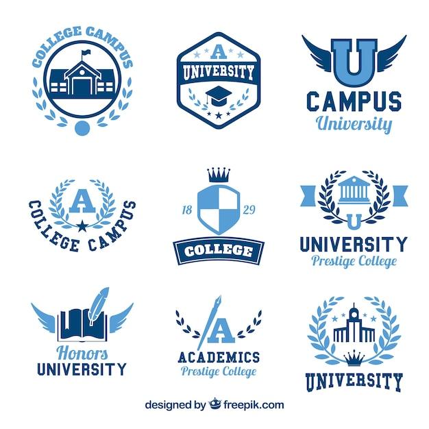Verzameling van negen logo's voor college Gratis Vector