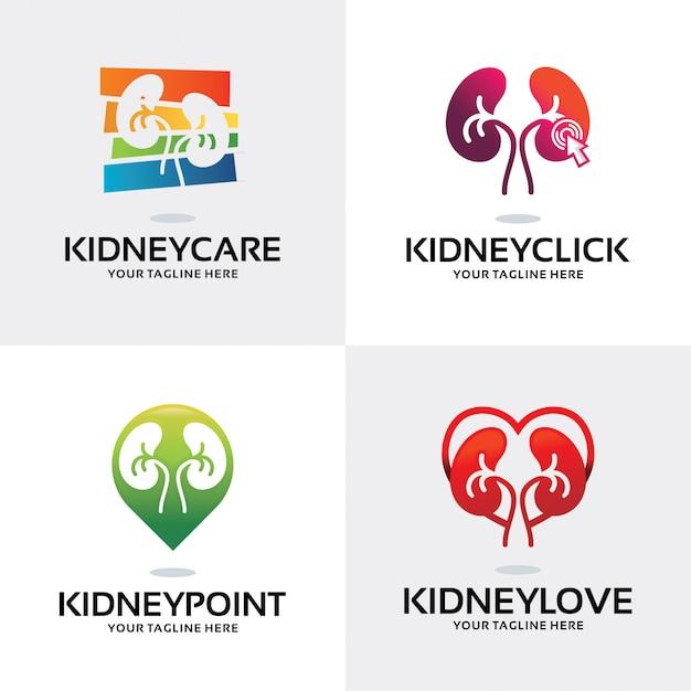 Verzameling van nier logo set ontwerpsjabloon Premium Vector