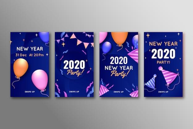 Verzameling van nieuw jaar 2020 party instagram-verhaal Gratis Vector