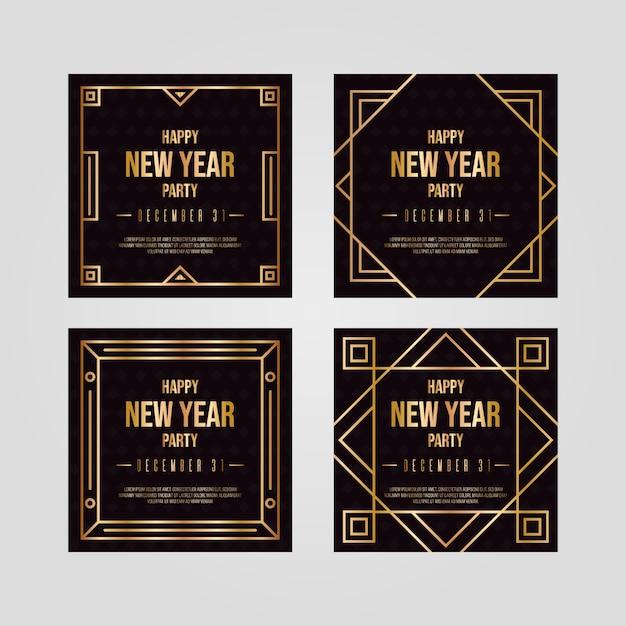 Verzameling van nieuwjaar 2020 party instagram-bericht Gratis Vector