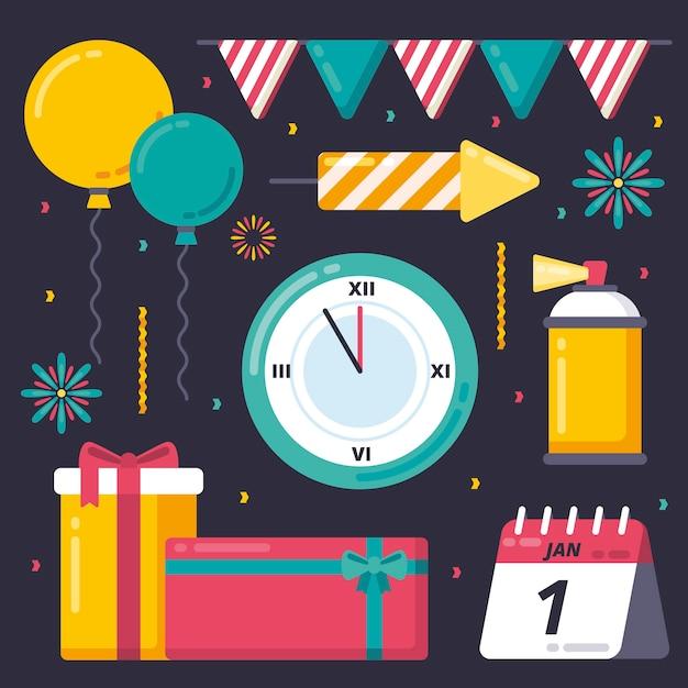 Verzameling van nieuwjaar partij element in plat ontwerp Gratis Vector