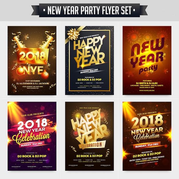 Verzameling van nieuwjaar party celebration poster, banner of flyer design. Premium Vector
