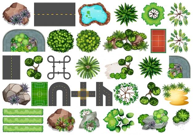 Verzameling van objecten van de buiten de natuur thema en plantaardige elementen Gratis Vector