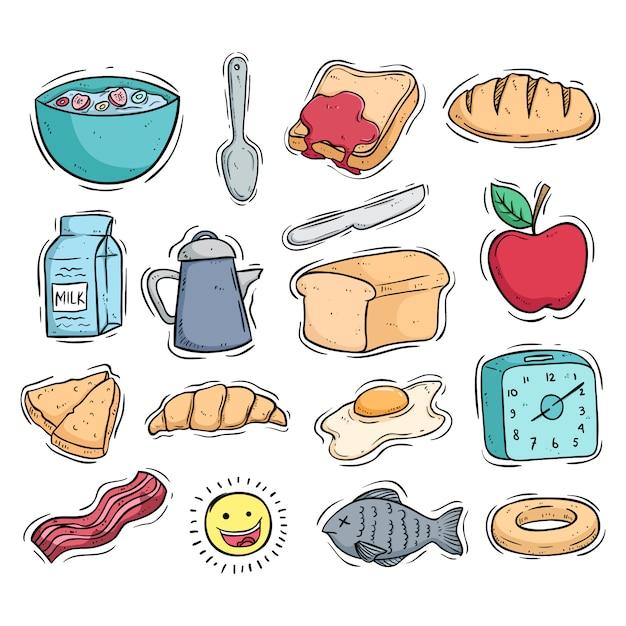 Verzameling van ontbijt eten pictogrammen met gekleurde doodle stijl Premium Vector