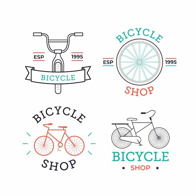 Verzameling van pastelkleurige fiets vintage logo Gratis Vector