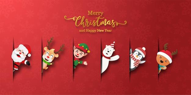 Verzameling van pictogrammen met kerstthema Premium Vector