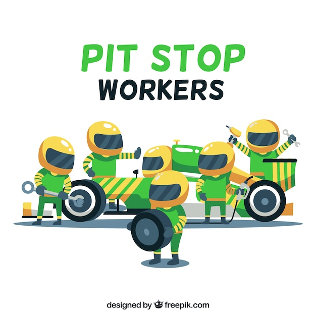 Verzameling van pit-stop werknemers Gratis Vector