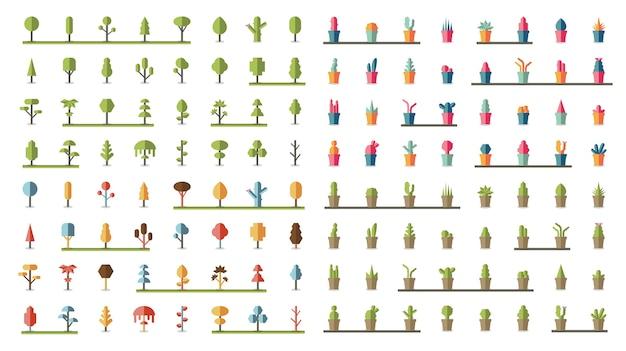 Verzameling van planten en boomvectoren Gratis Vector