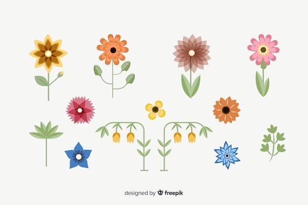 Verzameling van platte bloemen en bladeren Gratis Vector