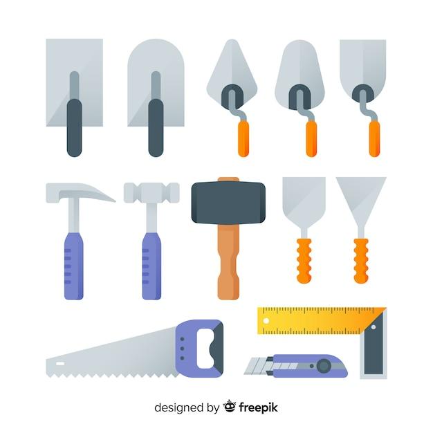Verzameling van platte bouwmachines Gratis Vector