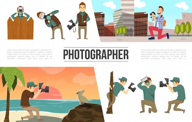 Verzameling van platte fotografie-elementen met fotograaf in verschillende poses, foto's, stickers, kleurrijke pinnen en clips Gratis Vector