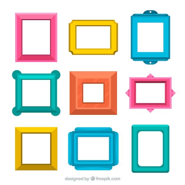 Verzameling van platte frames Gratis Vector