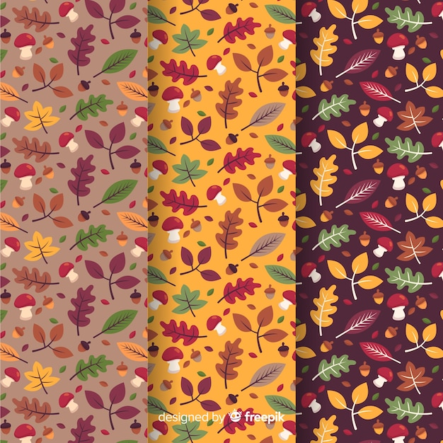 Verzameling van platte herfst patronen Gratis Vector