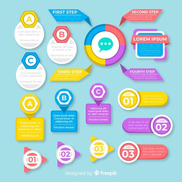 Verzameling van platte infographic elementen Gratis Vector