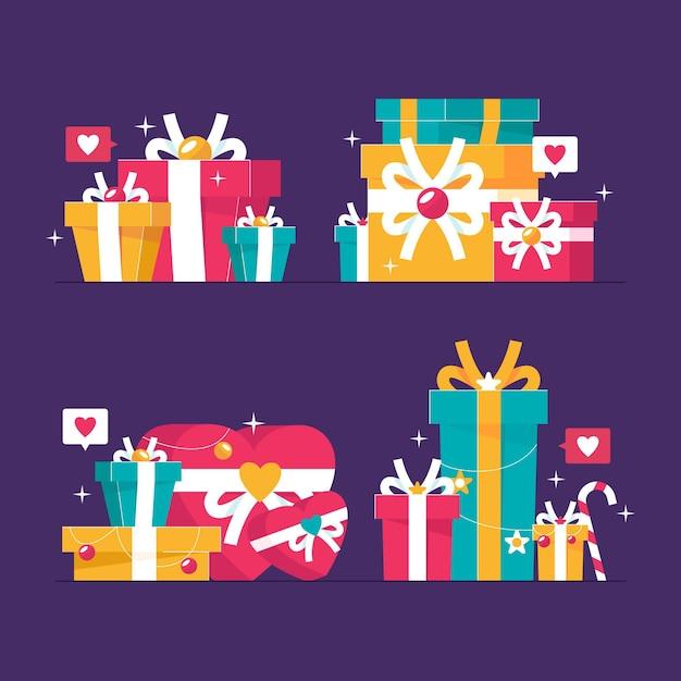 Verzameling van platte kerstcadeaus Premium Vector