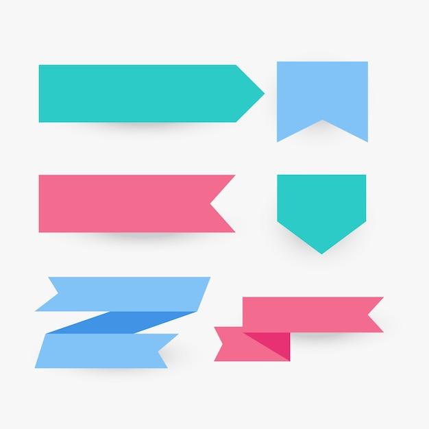 Verzameling van platte lint in verschillende kleuren Gratis Vector