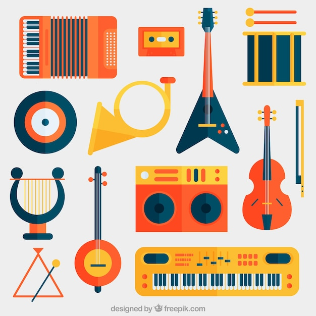 verzameling van platte muziekinstrumenten vector gratis. Black Bedroom Furniture Sets. Home Design Ideas
