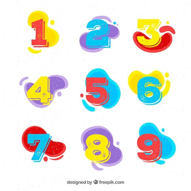 Verzameling van platte nummers Gratis Vector